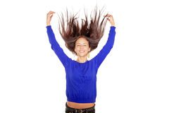 Girl with flying hairs Stock Photos