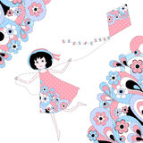 Girl flying a kite. Between abstract floral pattern Stock Photography