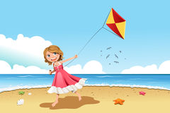 Girl flying kite Stock Image