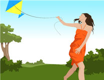 Girl flying kite. Girl with orange dress flying kite with bushes and tree at the back royalty free illustration