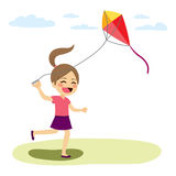 Girl Flying Kite. Beautiful young cute girl flying colorful kite playing outdoors vector illustration
