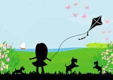 Girl with flying kite. Royalty Free Stock Images