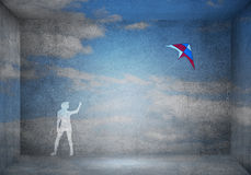 Girl and flying kite Royalty Free Stock Photo