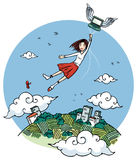 Girl flying by laptop Royalty Free Stock Photo