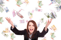 Girl with flying money. Young woman with flying money. Isolated stock photos
