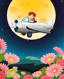 A girl flying plane. Illustration of a girl flying plane in dark sky Royalty Free Stock Image