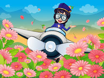A girl flying plane. Illustration of a girl flying  air plane Stock Photography