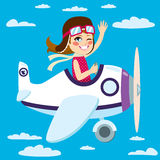 Girl Flying Plane. Cute little girl flying a plane on sky waving hand Stock Photos
