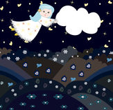Girl flying through the sky with a cloud Royalty Free Stock Photography