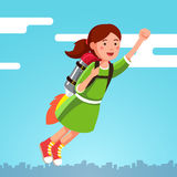 Girl flying in the sky clouds on a rocket jetpack Stock Photo