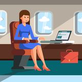 The girl is flying to an airplane. Vector illustration. Royalty Free Stock Photo