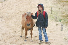 Girl with foal. Girl with a brown pony foals in a sand dune royalty free stock image