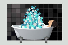 Girl in a foam bath Royalty Free Stock Photo