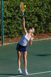 Girl Tennis Serve Racket Ball Royalty Free Stock Image