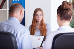 Girl focused on job interview Stock Photo