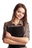Girl with folder Stock Photos