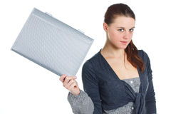 Girl with folder Stock Images