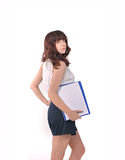 Girl with a folder of papers Stock Images