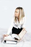 Girl with folders Stock Photos