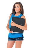 Girl with folders Royalty Free Stock Image