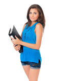 Girl with folders Stock Photography