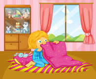 A girl folding her blanket. Illustration of a girl folding her blanket stock illustration