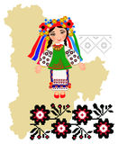 Girl in folk costume of the Kiev region in the map background re Stock Images