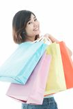 Girl fond of shopping Royalty Free Stock Image