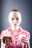 Girl with food Royalty Free Stock Image