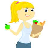 The girl with food Royalty Free Stock Photo