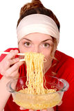 Girl and food, noodles. Girl and food, lunch, macaroni, noodles royalty free stock photography