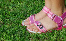 Girl foot with sandal Stock Images