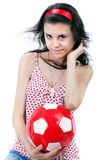 Girl with football Stock Photo