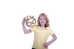 Girl and football Stock Photos