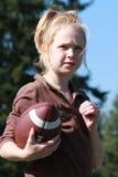 Girl with football stock image