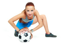 Girl with a football ball Royalty Free Stock Photo