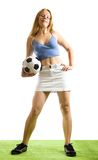 Girl with football ball Royalty Free Stock Images