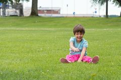 The girl on the football field Royalty Free Stock Images