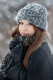 Girl For A Walk In The Winter Stock Photography