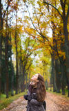 Girl on Forest Stock Images