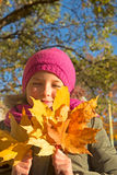 Girl in the forest in autumn Royalty Free Stock Photography