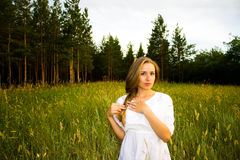 Girl in the forest Royalty Free Stock Photos