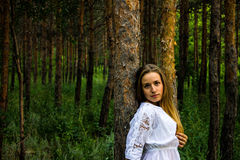 Girl in the forest Royalty Free Stock Images