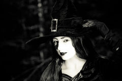 Girl in the forest dressed Halloween witch costume Royalty Free Stock Image