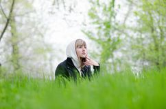Girl on a forest glade Royalty Free Stock Photo