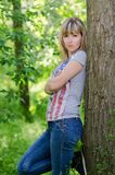 Girl on a forest glade Royalty Free Stock Photos