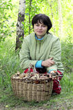 Girl in forest next to a basket of mushrooms Royalty Free Stock Photos