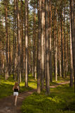 Girl on forest path Royalty Free Stock Images