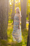 Girl in forest. A pretty girl in sun glade out among the trees Stock Photos