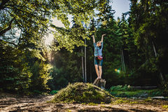 A girl in a forest Stock Photos